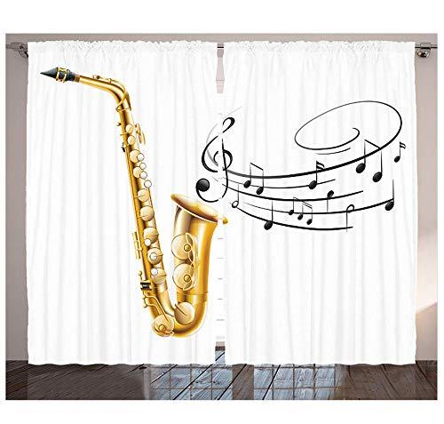 MUXIAND muziekgordijnen illustratie fantasie oude saxofoon sjabloon Solo Vibes kunstdruk design woonkamer slaapkamer raam decoratief paneel