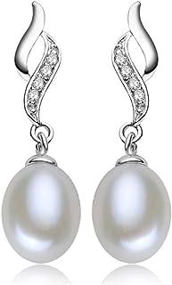 Laimons Bijou boucles doreilles pour femme rond avec une perle de culture deau douce blanc argent sterling 925