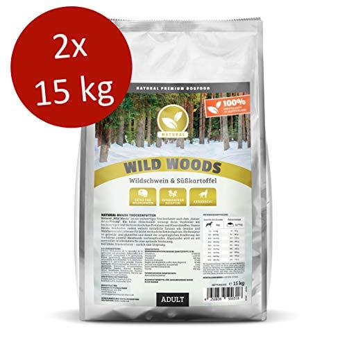 NATURAL | Wild Woods | 2 x 15 kg | Wildschwein + Kartoffel | getreidefreies Hundefutter | Trockenfutter für alle Hunderassen | viel frisches Fleisch | artgerecht & besonders gut verträglich