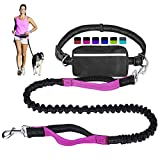 Hands Free Dog Leash for Running Walking Training Hiking, Dual-Handle Reflective Bungee, Poop
