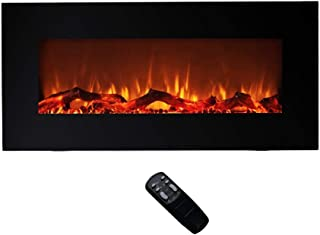 FLAME&SHADE Electric Fireplace, Wall Mounted or Freestanding 750-1500w Heater, Multicolor LED Flame and Logs with Thermostat and Remote, 34 inch
