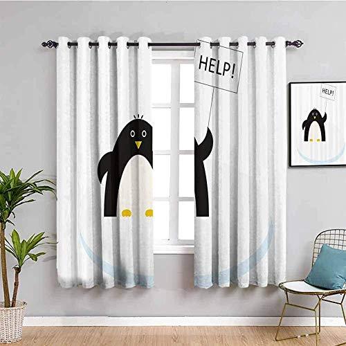 Nileco Cortinas de Opacas - Negro blanco animales ayuda - 280x245 cm - 3D Impresión Digital con Ojales Aislamiento Térmico - para Sala Cuarto Comedor Salon Cocina Habitación