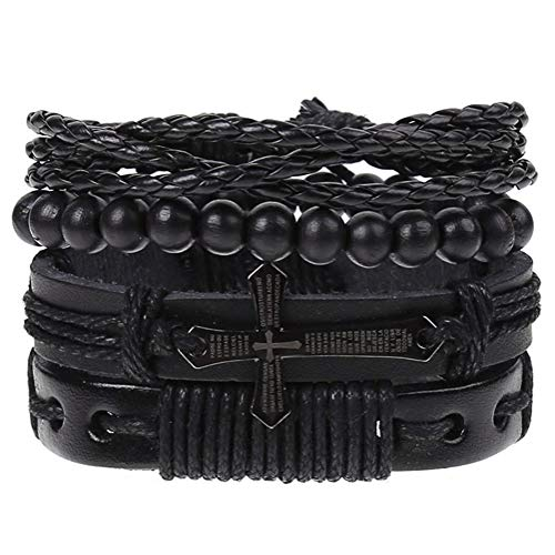 AdorabFruit Jesus 4Pcs/ Set Braided Men Women Bracelets Vintage Wooden Beads Rudder Cross Ethnic Wristbands Hope Believe Bracelet (Metal Color : E)