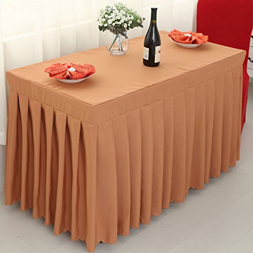 Nappes Fitted Table Skirt Cover Wedding Banquet With Top Topper Nappe-Brown ( Couleur : Marron , taille : 50*100*75CM )
