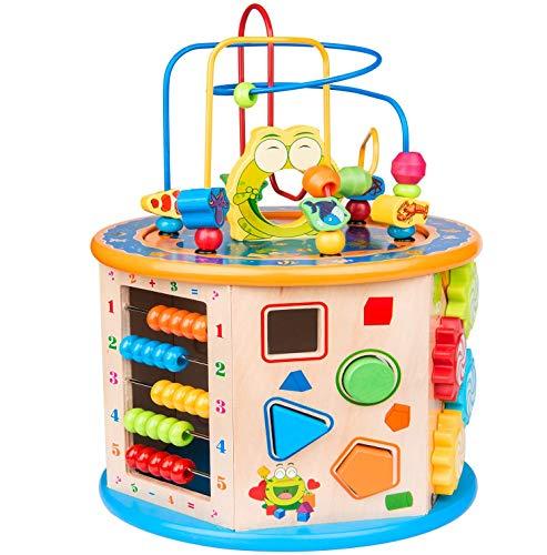 TDOYO Juguetes Bebe, 8 en 1 Cubo de Actividades,Madera Cubo con Cuentas Laberinto Juguete Educativo Multiusos para niños bebés Niños pequeños Edad 3 4 5 6 7 años de,Beige