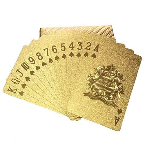 ZengBuks Goldfolie Spielkarten Poker Game Deck Goldfolie Poker Set Plastik Magic Card wasserdichte Karten für Tischspiel - Gold