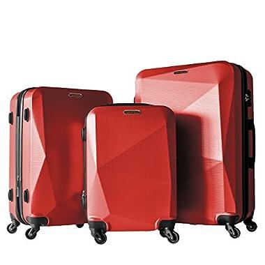 3 PC Luggage Set Durable Lightweight Hard Case Spinner Suitecase LUG3 HD1629 DARK RED