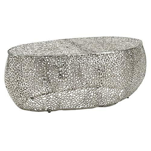 FineBuy Couchtisch 110x45x60 cm Aluminium Silber Design Loungetisch Oval | Sofatisch Aststruktur Metall | Wohnzimmertisch Modern | Stubentisch Groß Orientalisch