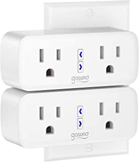 Gosund Wifi Smart Plug Outlet Dual Extender Mini Work with Alexa, Google Home, with Control Independently or Together, 10A, No Hub Required, FCC Listed (2 Pack)