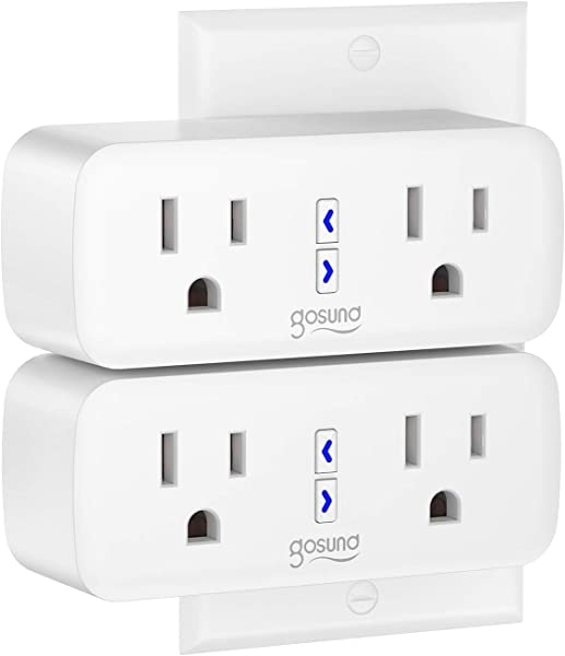Gosund Wifi Smart Plug Outlet Dual Extender Mini Work With Alexa Google Home IFTTT With Control Independently Or Together 10A No Hub Required FCC Listed 2 Pack
