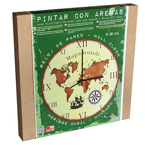 ARENART | 1 Blatt Weltkarte Uhr Ø38 cm | mit farbigem Sand malen | Kunsthandwerk für Jugendliche und Erwachsene Einfaches Zeichnen | Malen nach Zahlen | +9 Jahre