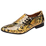 Men's Dress Shoes Oxford British Style Leather Shoes Snake Pattern Lace-Up Casual Flats (Gold, 9)