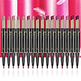Rotating Two-in-one Lip Liner and Lipstick,16 Color Double-ended Long Lasting Waterproof Velvet Durable Nude Non-stick Cup Lip Gloss Matte Lipstick,nourishing Lipstick