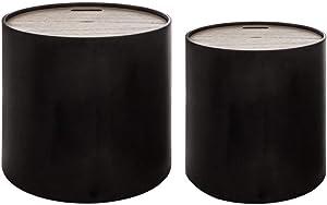 Atmosphera Lot de 2 Tables gigognes + coffres de Rangement - Style Moderne Design - Coloris Noir