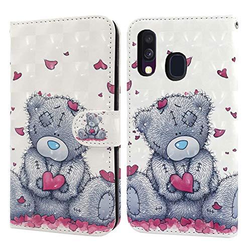 Ailisi Samsung Galaxy A40 Hülle Teddy Bear 3D Muster Handyhülle Schutzhülle PU Leder Wallet Case Flip Case Klapphüllen Brieftasche Ledertasche Tasche Etui im Bookstyle