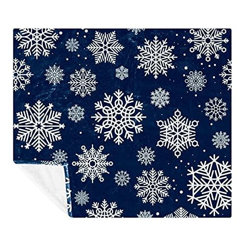 Coperta in pile con fiocchi di neve, morbida, leggera, accogliente, perfetta per letto, divano, divano, viaggi, campeggio, 149,9 x 199,9 cm