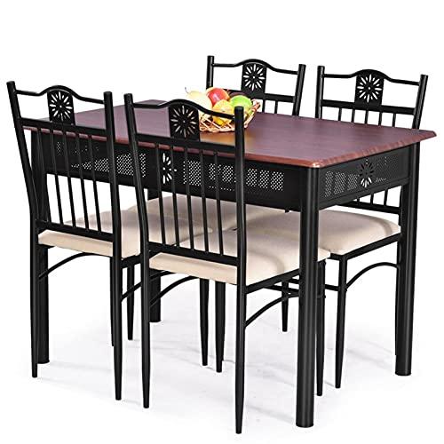 Set de muebles de patio, 5 PCS Conjunto de comedor Mesa de metal de madera 4 Sillas Conjunto cómodos Cojines Resistentes marco de acero Redondo Diseño de esquina 1 Conjunto Conjuntos de comedores por