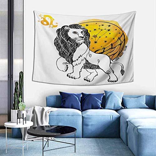YUNYANG Tapiz con signo del zodiaco grande, líder del signo del zodiaco Leo, con gran sol y estrellas, nacimiento, imagen de la suerte, para salón, dormitorio, decoración del hogar