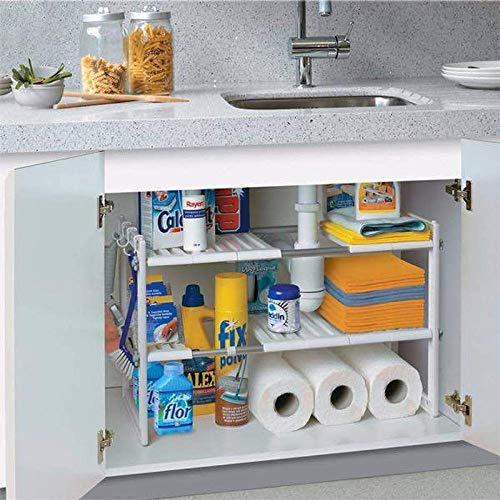 ABCSS Metal Japanese 2-Layer Retractable Kitchen Storage Rack,Stainless Steel Pot Rack Under The Sink Shelf.