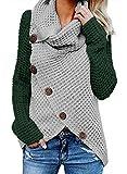 FIYOTE Damen Winterjacke Warm Strickjacke Rollkragen Cardigan Strickpullover Casual Wrap Wickel Pullover Sweater 7 Farbe S/M/L/XL/XXL, 2-grün, L