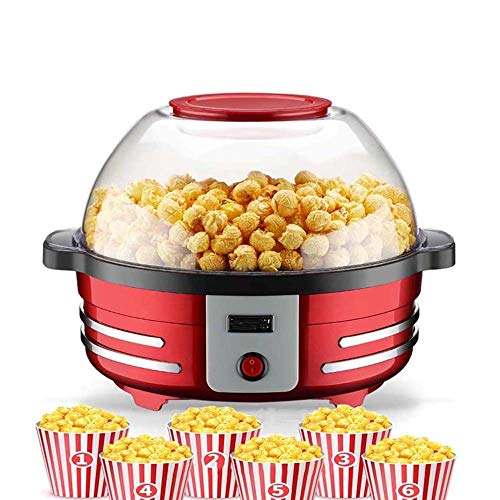 Best Bargain Atten Electric Popcorn Machine, Corn Machine with Removable Cooking Plate, Non-stick Coating, 2 Bowls With Lid, Red