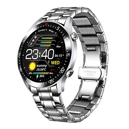 Reloj Inteligente para Hombre, Reloj de Pulsera Inteligente de Acero Inoxidable con frecuencia cardíaca, Reloj Deportivo para Android iOS
