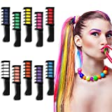 10 Colors Hair Chalk Comb for Girls, Kids Temporary Bright Hair Color Chalk Comb Set for Girls Age 4 5 6 7 8 9 10, Birthday Gifts,Children's Day,Halloween,Christmas,Makeup Cosplay DIY Party Favors