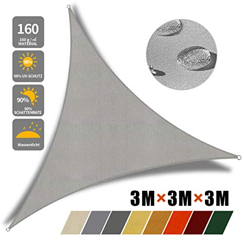 JYYnet Voile d'ombrage, Auvent Imperméable UV Protection Voile d'ombrage Triangulaire pour Jardin terrasse Camping (3×3×3m, Gris Clair)