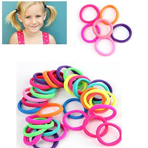 Gemini_mall® - Lot de 50 mini élastiques à cheveux pour filles (couleur aléatoire)