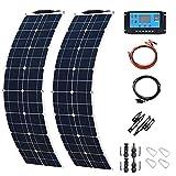 XHJZ Panel de 400W 2X 200W Mono Solar Cargador de batería Solar con 5V / 12V / 24V Controlador para el Coche de batería Yate Barco RV,with 30A Controller