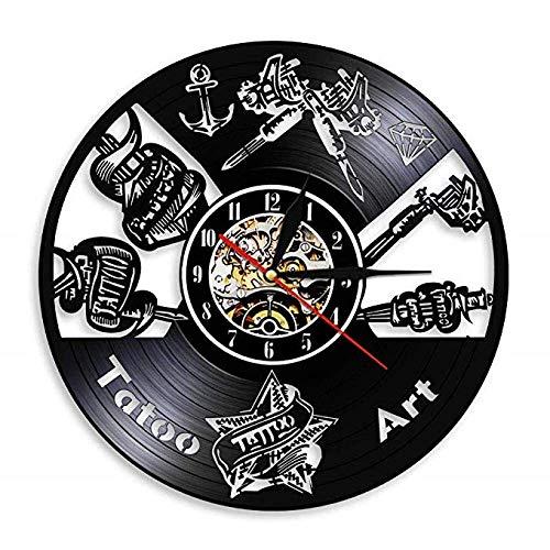 Tattoo Studio - Cartel de pared con diseño de tatuaje, para salón, reloj de pared, máquina de tatuaje, decoración hipster, hombre, regalo sin LED