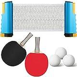 Sumind Set da Ping-Pong Portatile all-in-One con Netto, Rete Ondulata da Tavolo Telescopica a Scomparsa Istantanea da Tavolo Stile Ondulato, con 2 Palette per Racchetta da Ping Pong, 3 Palline