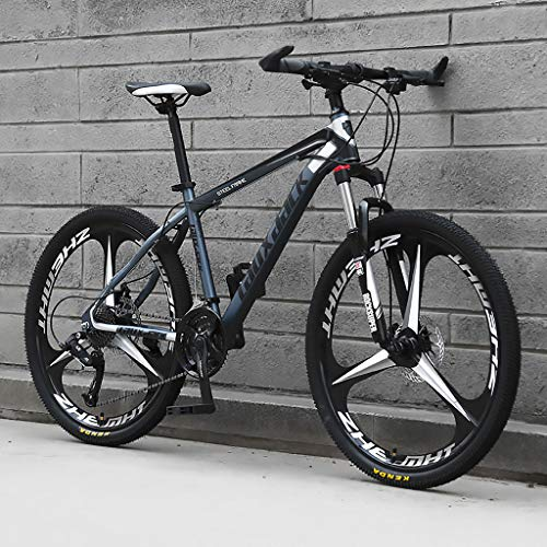 LWZ Adult Mountain Bike 26 Inch Wheels Mountain Trail Bike High Carbon Steel Outroad Bicycles 21 Speed Bicycle Full Suspension MTB