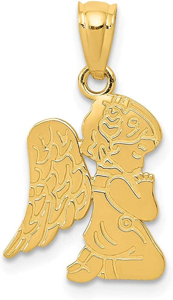 New Shipping Free 14k Yellow Gold Praying Angel Directly managed store Pendant Religi Necklace Girl Charm