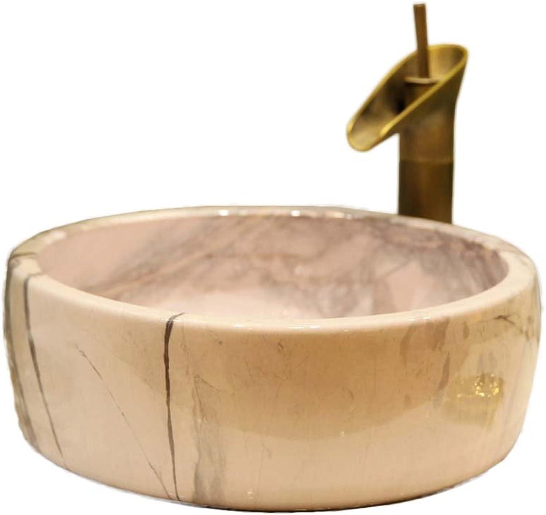 WINZSC Kunst über Zhler Becken Badezimmer Keramik Waschbecken Waschbecken Art Becken Waschbecken Stein Textur LO621407 (Farbe   Sink with Faucet)