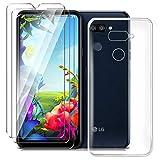 HYMY Hülle für LG K40S Smartphone + 3 x Schutzfolie Panzerglas - Transparent Schutzhülle TPU Handytasche Tasche Durchsichtig Klar Silikon Hülle für LG K40S (6.1