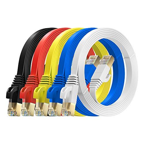 MutecPower 3m 5 Pack ULTRA PIATTO Cavo di rete Ethernet CAT 7 con connettori RJ45 - SFTP - 600 MHz - Cavi rosso/giallo/blu/nero/bianco da 3 metri con fascette e clip.