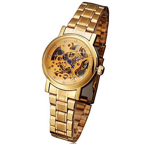 2017Winner relojes mujer marca de moda Rhinestone Esqueleto Automático Mecánico Reloj de pulsera Full dorado hembra de acero reloj