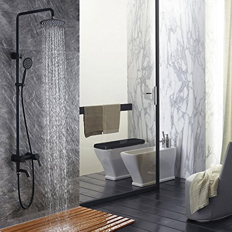 Makej Schwarz Bad Armatur Aus Edelstahl 304 Duschsystem Mit Schwarzen Backen Mischbatterie