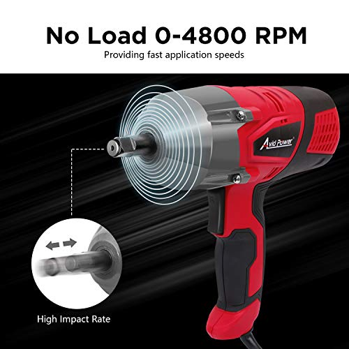 Avid Power Electric Impact Wrench Kit with 1/2 Inch Chuck, 500 N.m (370 Ft-lbs) Max Torque with Sockets and Carry Case