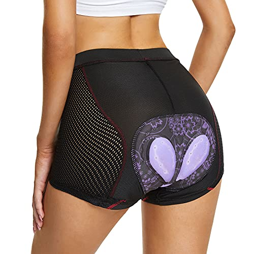 FEIXIANG Pantaloncini da Ciclismo Donna, Pantaloni Bici 4D Gel Imbottito Mutande Corti da Sportivi Biancheria Intima da Bicicletta Traspirabile Rapida