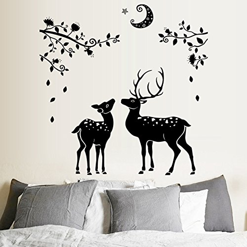 WLYUE DIY Wall Stickers Decal,Sticker Aufkleber 108x110cm Mond Schwarz Wind High Deer Silhouette Haupteingang Badezimmer Dekoration Weihnachtswandaufkleber