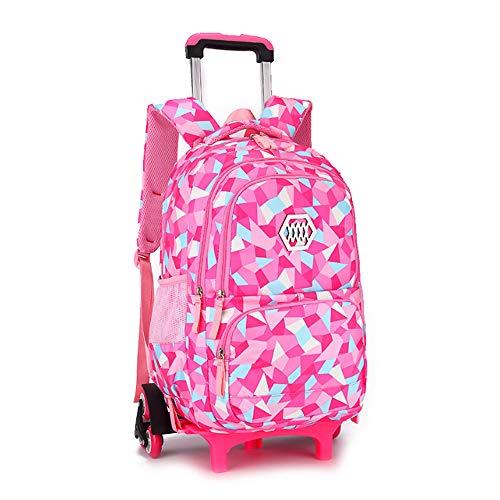 YSZDM Kindertrolleytas, uniseks kinder geometrische figuurtrolley rollende rugzak boekentas voor primaire meisjes jongens wielen boekentas dragen op koffer met zes wielen
