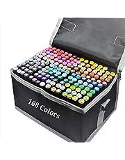Spritpennor med 168 färger, dubbla spetsar, permanenta konstmarkörer, pennor för barn och vuxna, penselmarkörer, överstrykningspenna, skissmarkörer för att teckna och skissa, färgläggning för vuxna, alkoholbaserade markörer