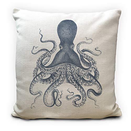 Octopus Cushion Pillow Cover, Sealife illustration, Beach Seaside Nautical Theme Home Decor 40cm 16 inches