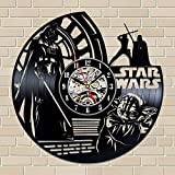ArtoriDesign18 Star Wars Wall Clock Star Wars Vinyl Record Star Wars Vinyl Wall Clocks Star Wars Gifts for Star War Fans Unique Art Handmade Retro Clock Wall Clock Vintage