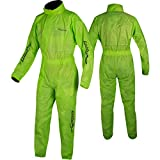 A-Pro Motorcycle Motor Bike Waterproof Full Body One 1 PC Rain Over Suit Fluo L