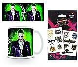 1art1 Escuadrón Suicida, El Joker Taza Foto (9x8 cm) Y 1 Escuadrón Suicida, Set De Tattoos (17x10 cm)