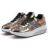 ZODOF Las Mujeres de Las señoras cuñas Zapatillas de Deporte Zapatos de Lentejuelas Shake Zapatos de Deporte de Las niñas de Moda