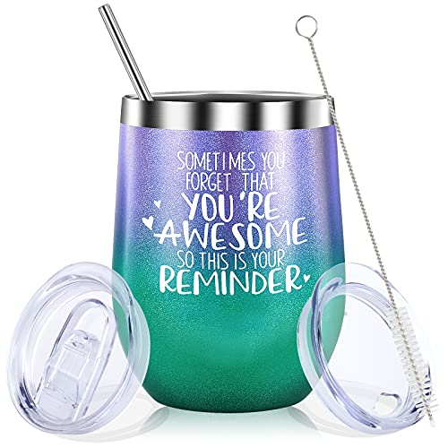 Birthday Gifts for Women, Men-Thank You Gifts-Funny Inspirational Encouragement Friend Gifts for Women, Friends, Men, BFF, Mom, Coworker- Stainless Steel Wine Tumbler With Lid
